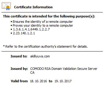 Akıllı Yuva SSL sertifikası